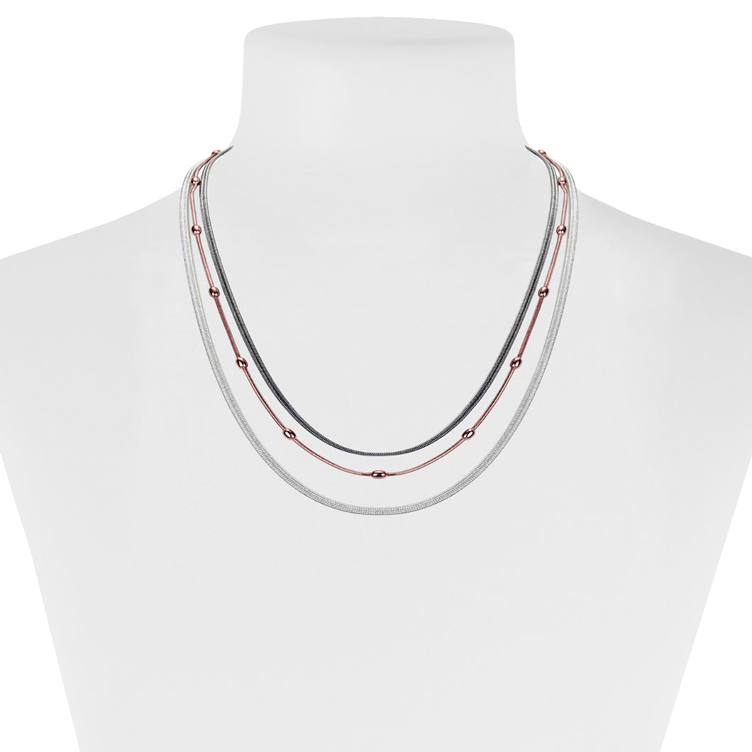 COLLIER 3 RANGS AVEC CHAÎNES DE DIFFÉRENTS STYLES ET PLAQUAGES  - MIX OR ROSE | 3 ROWS NECKLACE WITH MULTI CHAIN STYLES AND PLATINGS  - MIX ROSE GOLD