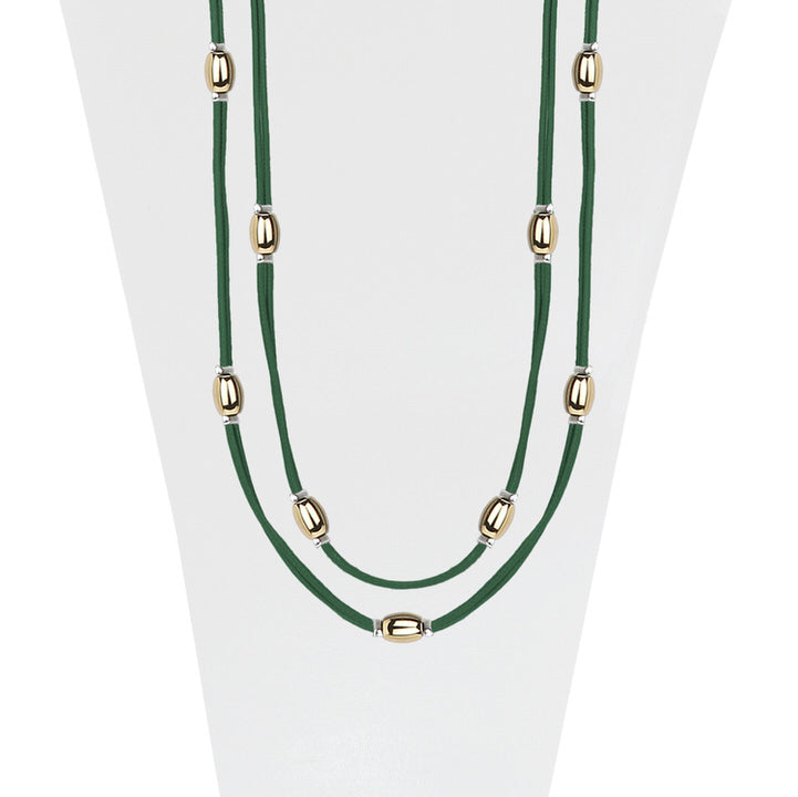 LONG COLLIER AVEC BILLES MÉTALIQUES SUR CORDE SOYEUSE  - VERT ET OR | LONG NECKLACE WITH METAL BEADS ON SILKY CORD  - GREEN & GOLD