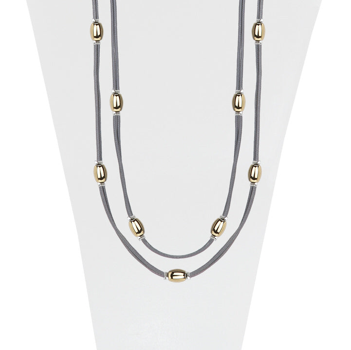 LONG COLLIER AVEC BILLES MÉTALIQUES SUR CORDE SOYEUSE  - GRIS ET OR | LONG NECKLACE WITH METAL BEADS ON SILKY CORD  - GREY & GOLD