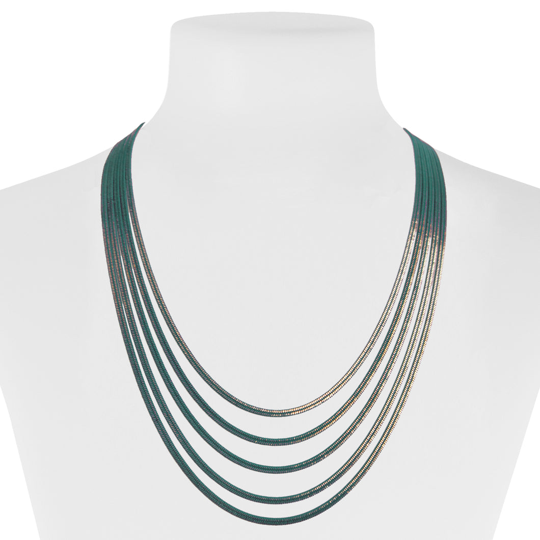 COLLIER MULTI-RANG DE CHAÎNES COLORÉES - VERT | MULTISTRAND COLOURED CHAINS NECKLACE - GREEN