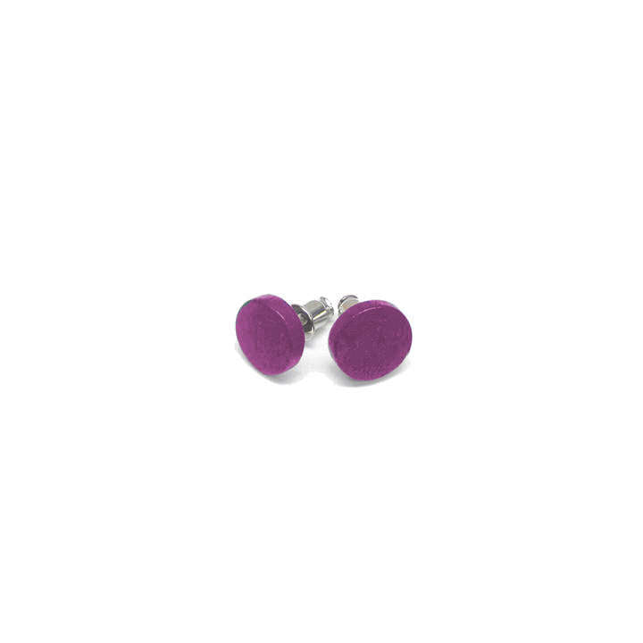 BOUCLES D'OREILLES PETITS BOUTONS DE BOIS COLORÉS SUR TIGES  - MAUVE | SMALL AND COLOURFUL WOOD BUTTON EARRINGS ON POSTS - PURPLE