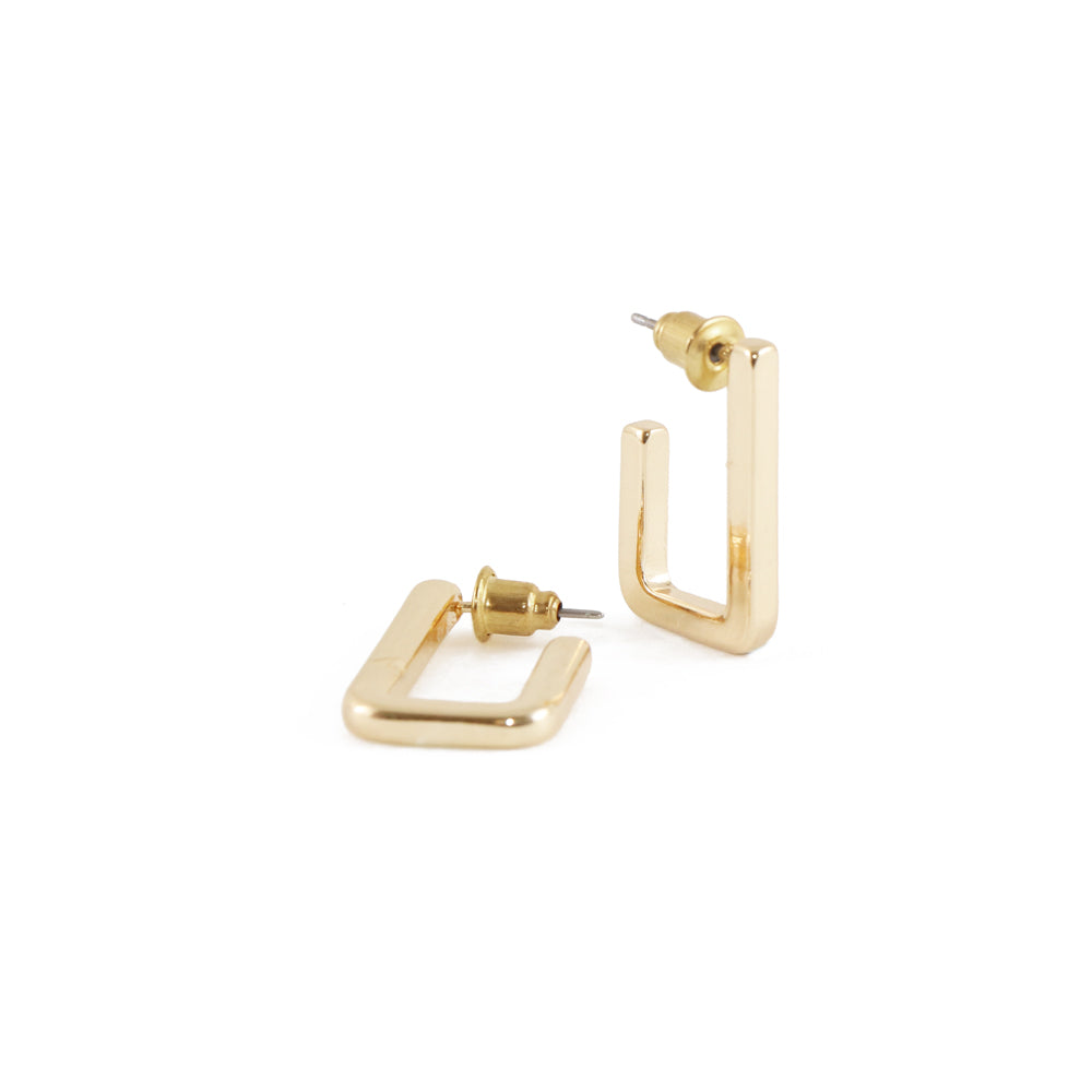 boucles d'oreilles rectangulaire en métal sur tiges - OR | rectangle metal earrings on posts - GOLD