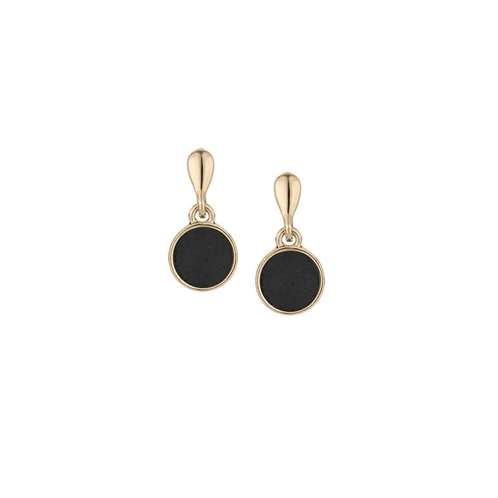 BOUCLES D'OREILLES PENDENTIFS MINIS BOUTONS DE RÉSINE - NOIR ET OR | MINI RESIN BUTTONS DROP EARRINGS - BLACK & GOLD