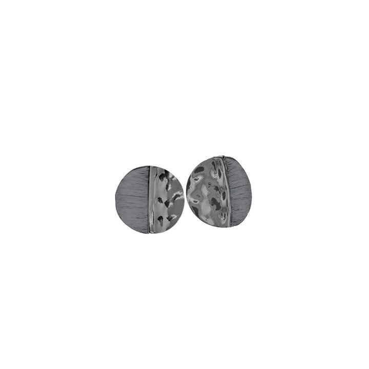 PETITES BOUCLES D'OREILLES MÉTALS RONDES PEINTES À LA MAIN  - GRIS ET HÉMATITE | SMALL HAND PAINTED METALLIC ROUND EARRINGS - GREY & HEMATITE