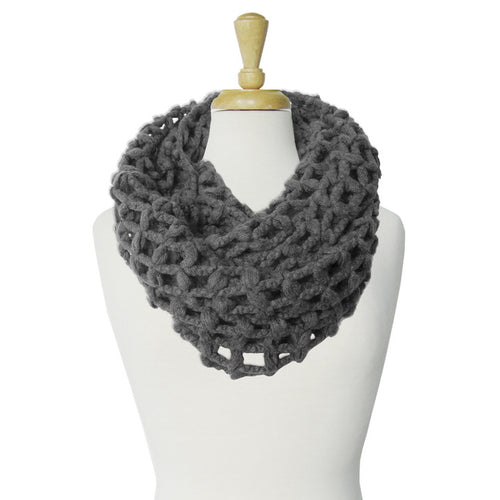 GRANDE ÉCHARPE TUBE À GRANDES MAILLES  - GRIS | BIG & WARM INFINITY SCARF WITH LARGE MESH  - GREY