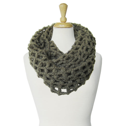 GRANDE ÉCHARPE TUBE À GRANDES MAILLES  - OLIVE | BIG & WARM INFINITY SCARF WITH LARGE MESH  - OLIVE