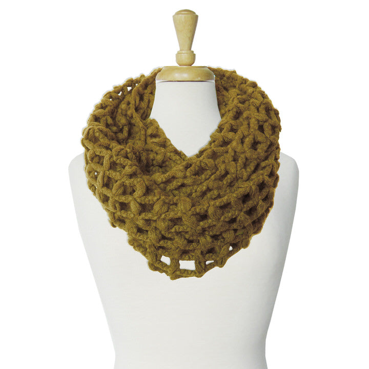 GRANDE ÉCHARPE TUBE À GRANDES MAILLES  - SABLE | BIG & WARM INFINITY SCARF WITH LARGE MESH  - SAND