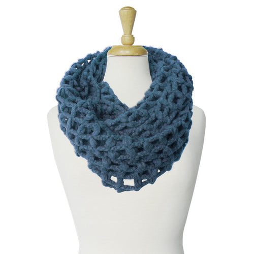 GRANDE ÉCHARPE TUBE À GRANDES MAILLES  - SARCELLE | BIG & WARM INFINITY SCARF WITH LARGE MESH  - TEAL