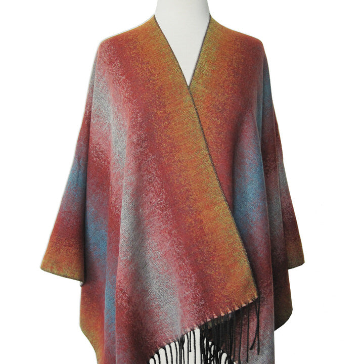 GRAND CHÂLE DOUX ET CHAUD MOTIF OMBRÉ  - MULTI | LARGE SOFT & WARM OMBRE PATTERN SHAWL  - MULTI