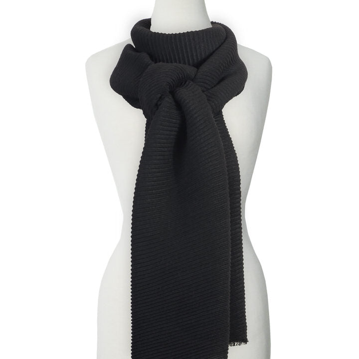 DOUX ET GRAND FOULARD ONDULÉ COULEUR UNI - NOIR | LARGE RIPPLED & SOFT SOLID COLOR SCARF  - BLACK