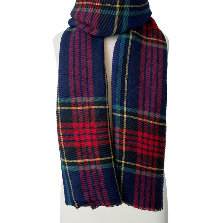 DOUX ET GRAND FOULARD ONDULÉ MOTIF TARTAN - TARTAN BLEU | LARGE RIPPLED & SOFT PLAID PATTERN SCARF  - BLUE PLAID