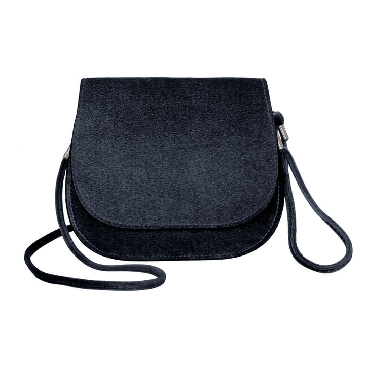 petit sac plat de velours à bandoulière avec deux ganses amovibles - NOIR | small velvet crossbody bag with shoulder & wristlet removable straps - BLACK