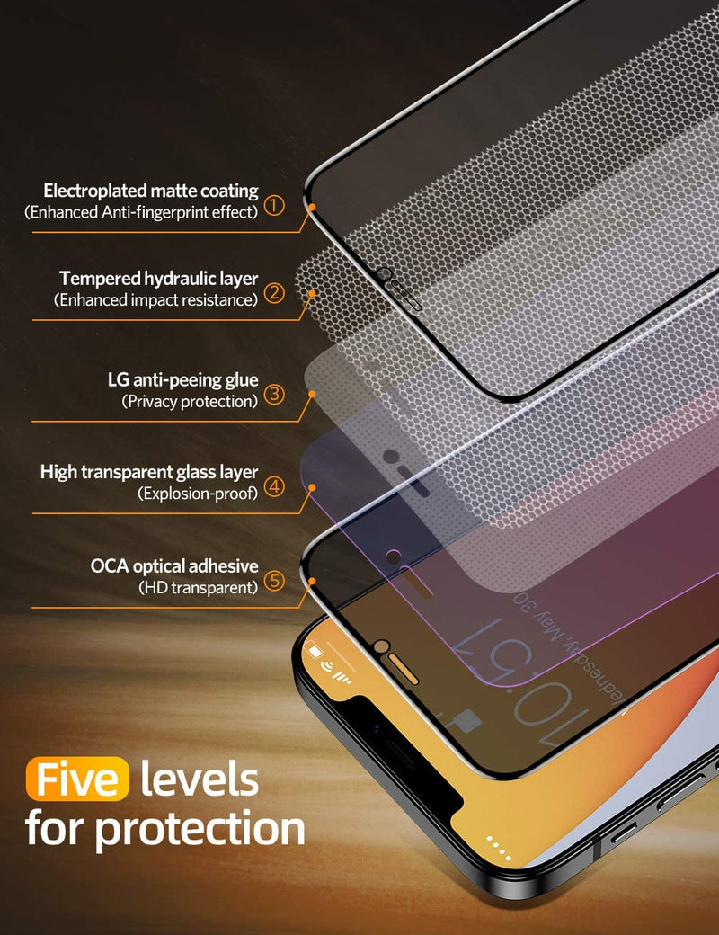 Anti-Peeping Tempered Glass Screen Film For iPhone 12
