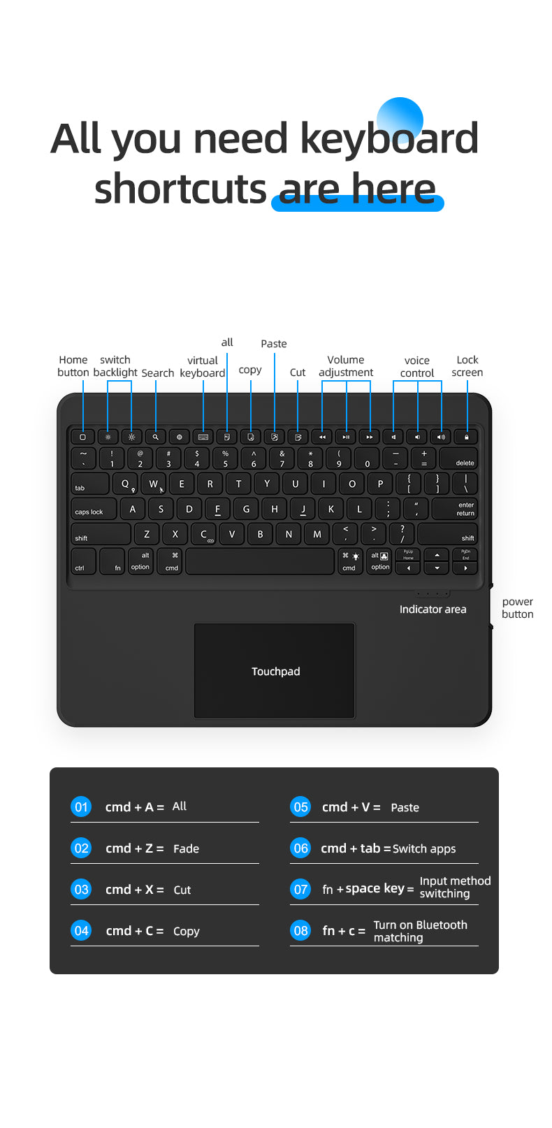 keyboard case with Touch Pad for iPad
