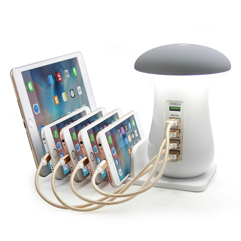 Multi 5 Port Charging Dock Tablet QC 3.0 Quick Charge Desktop Station Lamp Multiple USB Fast Phone Charger EU/US/UK/AU Plug Gift | Better Bits 'n' Bobs