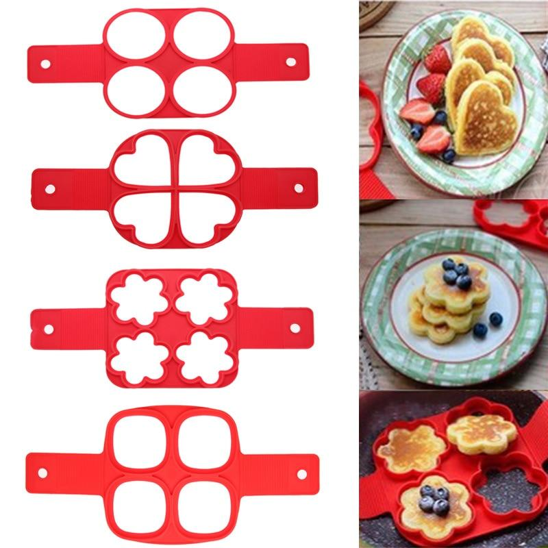 Nonstick Pancake Maker Egg Ring Maker 4 Holes Silicone Pancake Mold Frying Egg Mold DIY Square Heart Circle Flower Kitchen Tools | Better Bits 'n' Bobs