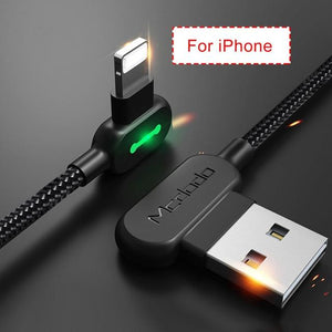 Dual 90 Degree Double-Braided Cable Fast Charging USB Mobile Phone Charger Adapter Lightning Type C Micro For iPhone, Samsung, Android | Better Bits 'n' Bobs