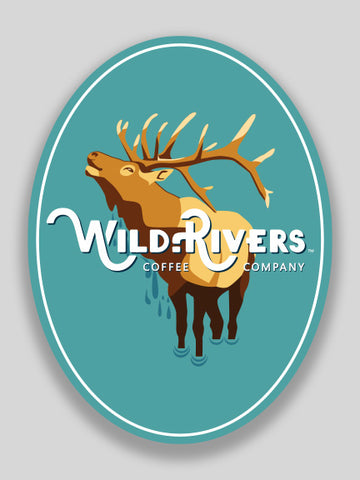 3 x 4 sticker of an elk and wild rivers logo on light blue background
