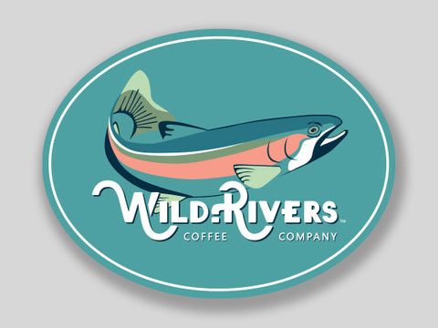 3 x 2.25 sticker of a fish and wild rivers logo on light blue background