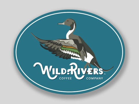 4 x 3 sticker of a duck and wild rivers logo on light blue background