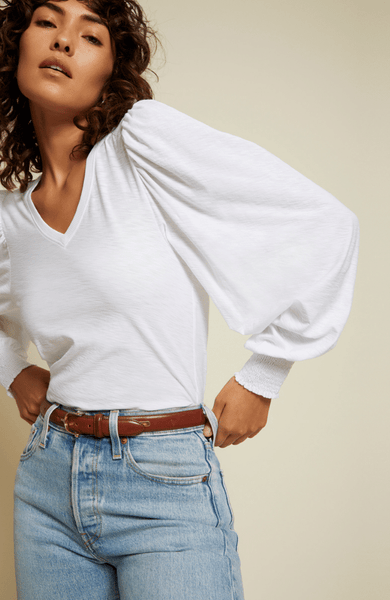 Nation LTD Tabitha Long Sleeve V-Neck / White - nineNORTH