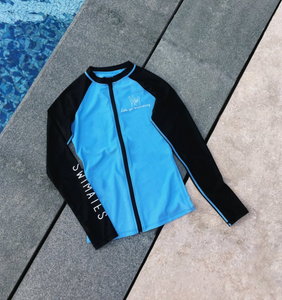 藍黑色長袖拉鏈防曬衣|Blue & Black Long Sleeve Rash guard