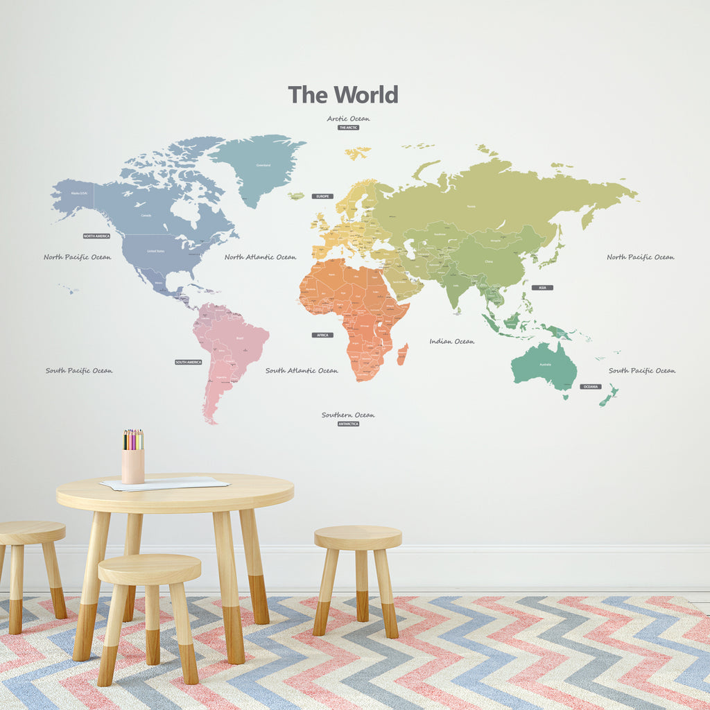 Modern Colour World Map Wall Stickers (Large)