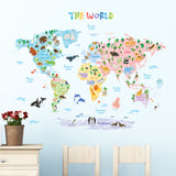 Animal World Map Wall Stickers (Large)