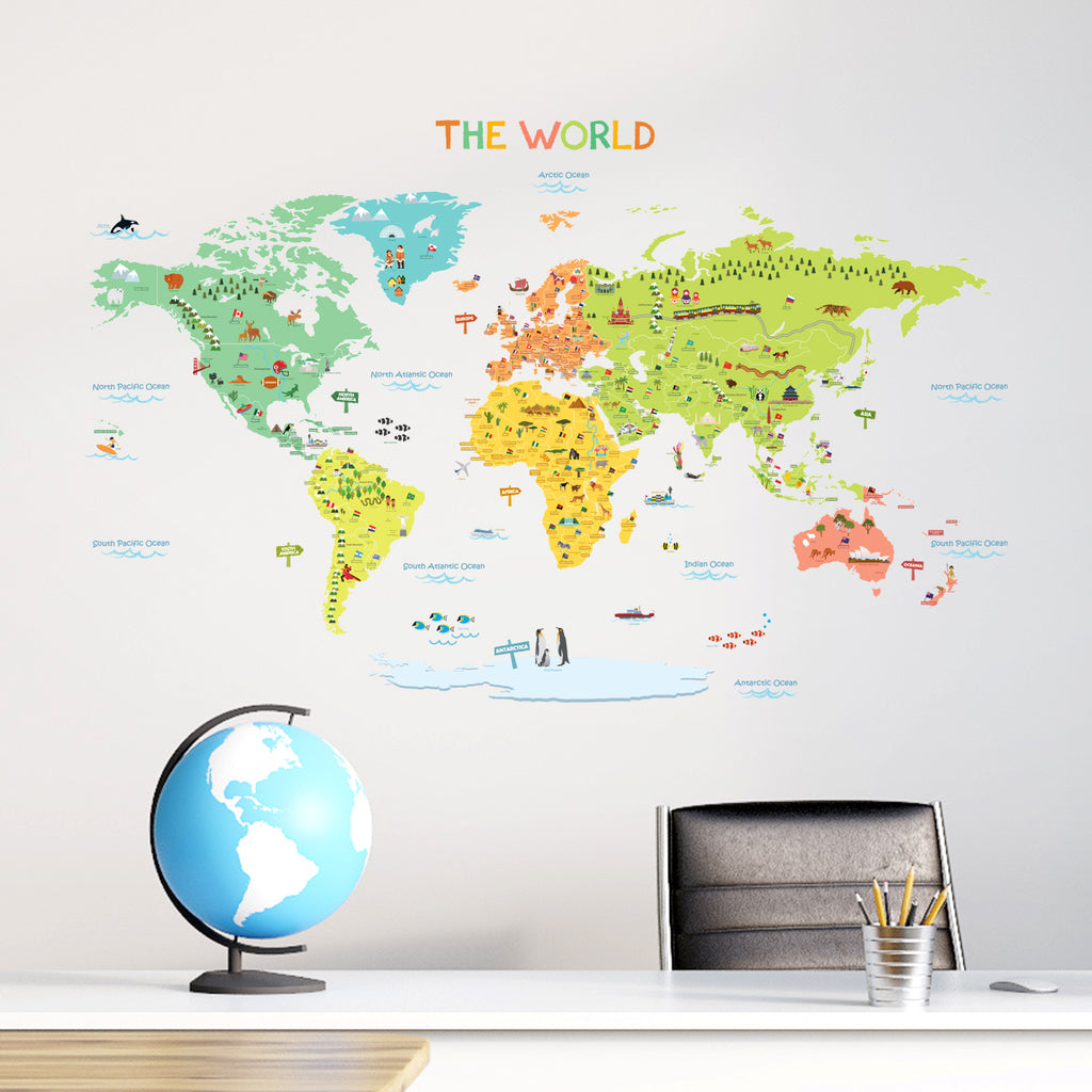 Colourful World Map Wall Stickers (Medium)