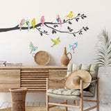 Floral Birds on Tree Branch Wall Stickers