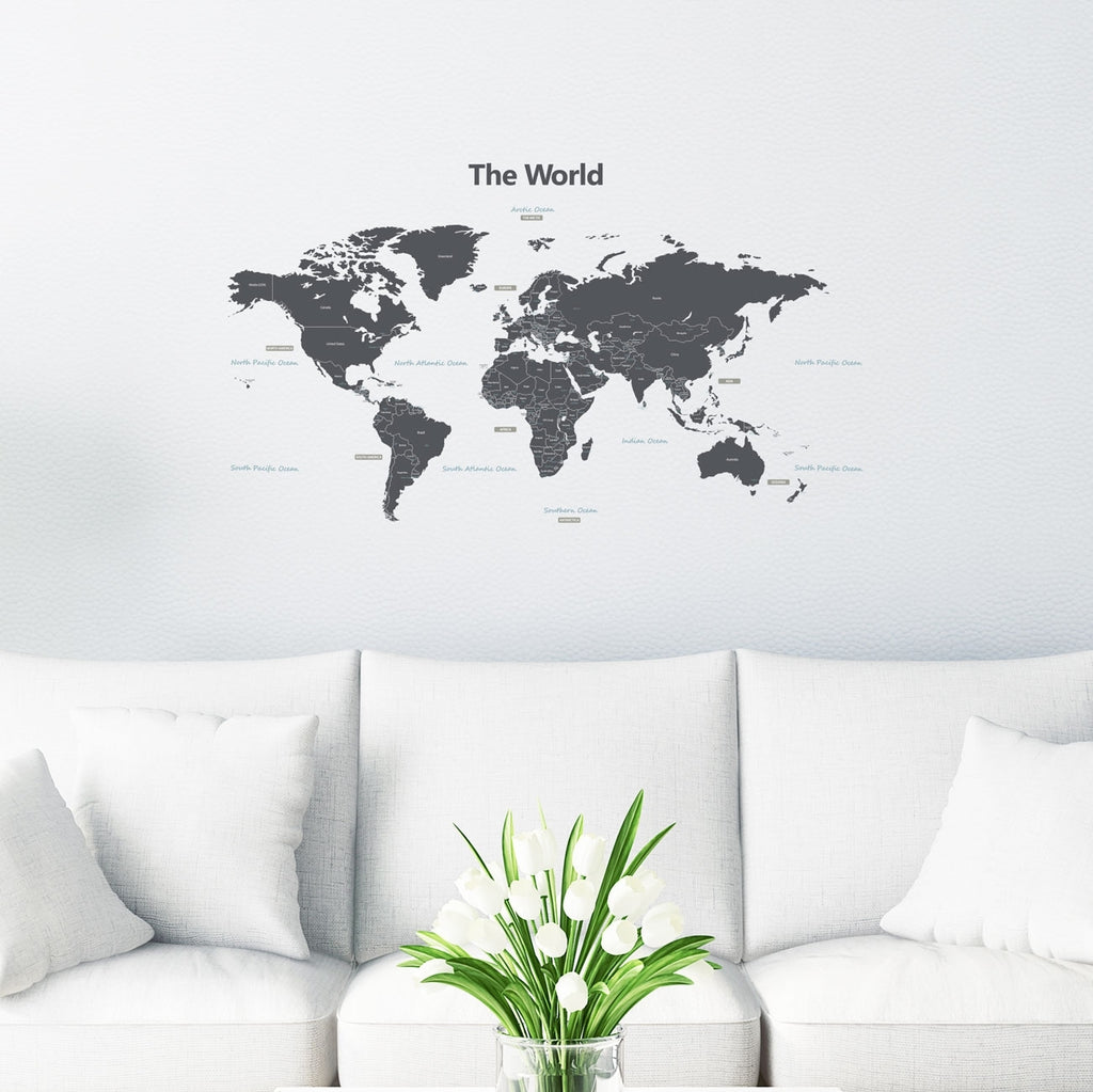 Modern Grey World Map Wall Stickers (Medium)