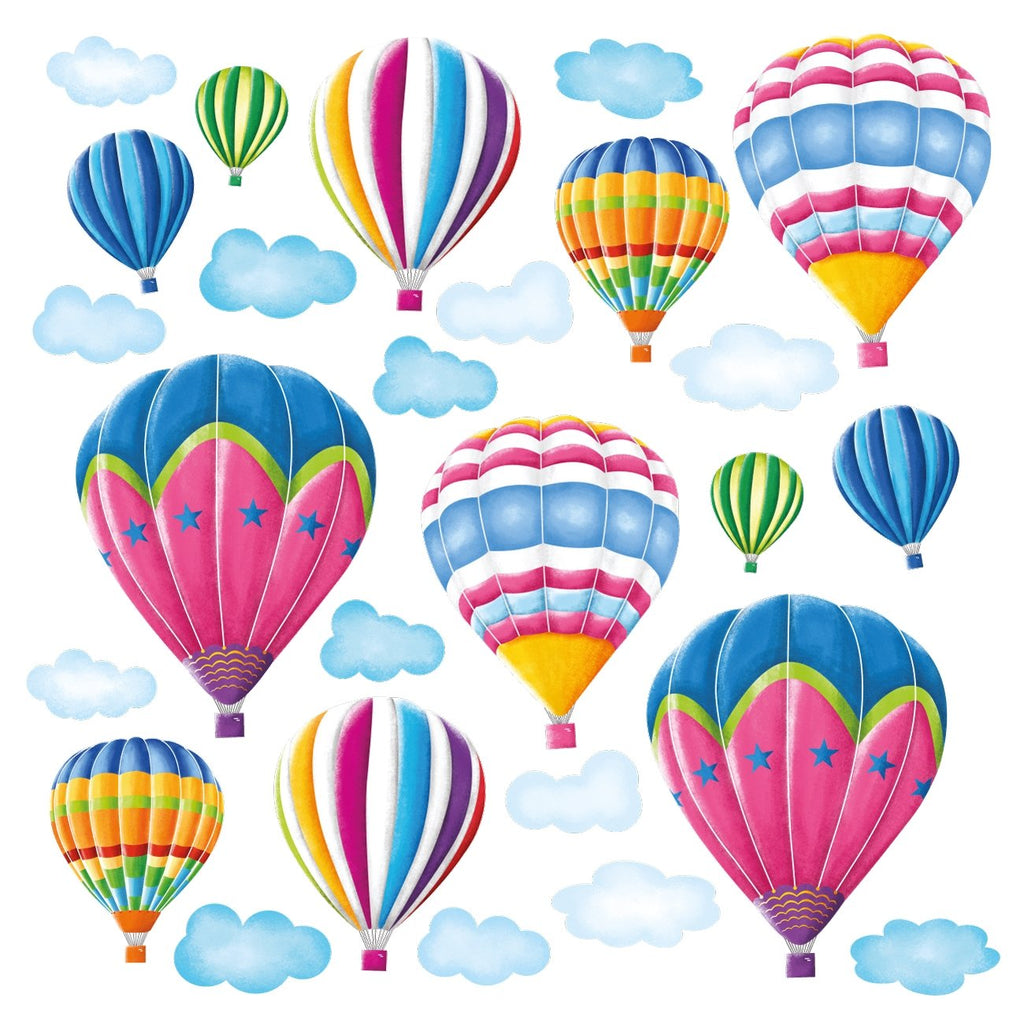 12 Hot Air Balloons in the Sky Wall Stickers