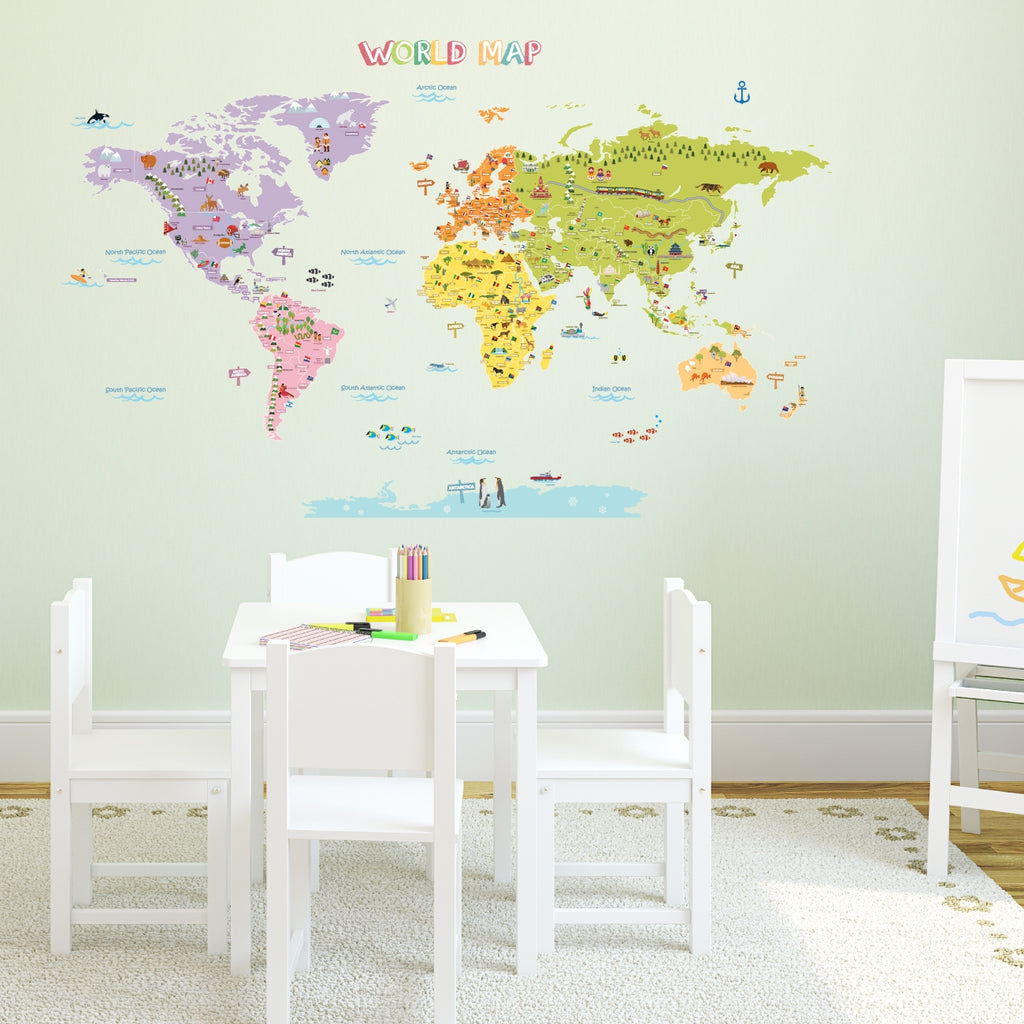 The Large World Map Nursery Kids Wall Stickers