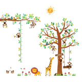 8 Little Monkeys Tree & Height Chart Wall Stickers - DECOWALL