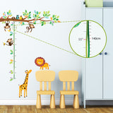 Little Monkeys Tree & Animals Height Chart Wall Stickers