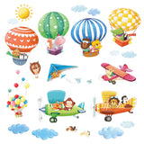 Animal Hot Air Balloons & Biplanes Wall Stickers
