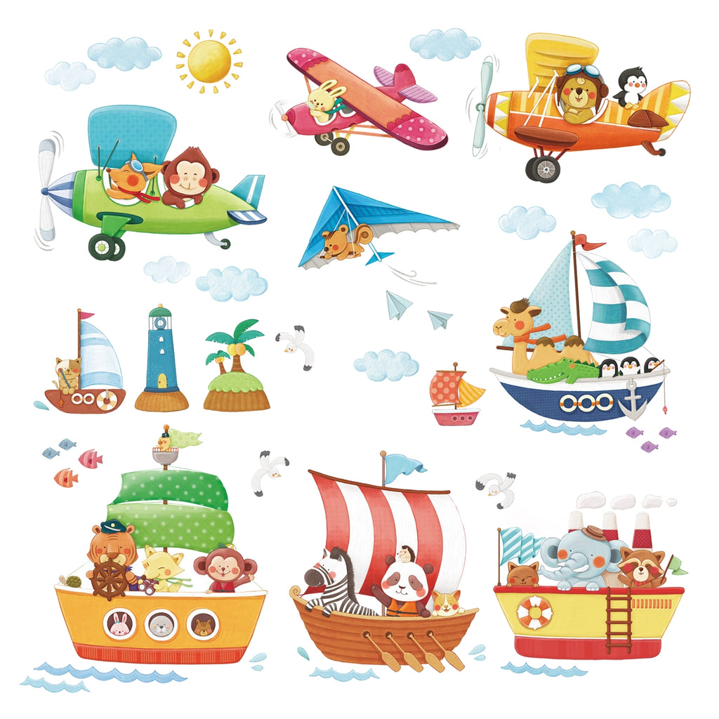 Animal Ships and Biplanes Wall Stickers