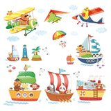 Animal Ships & Biplanes with Hang Glider Wall Stickers