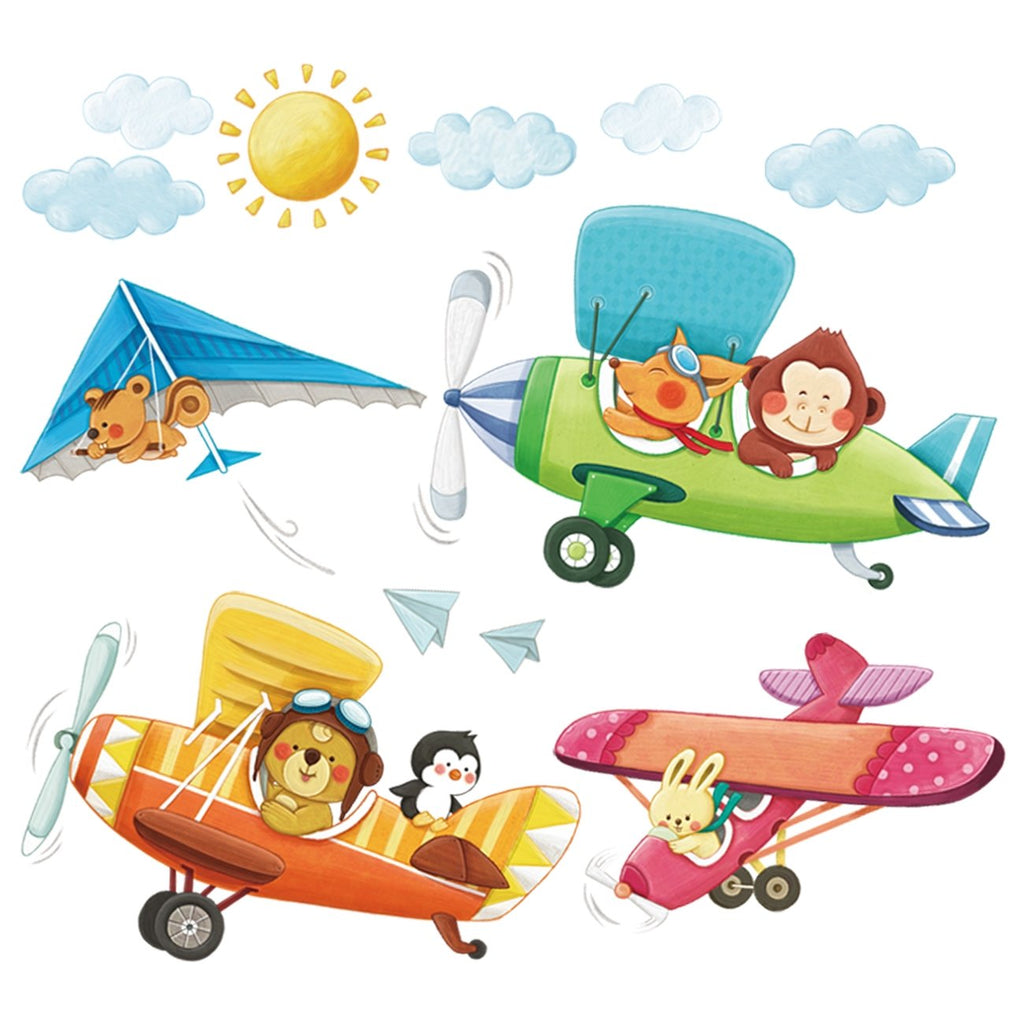 3 Animal Biplanes Wall Stickers - DECOWALL