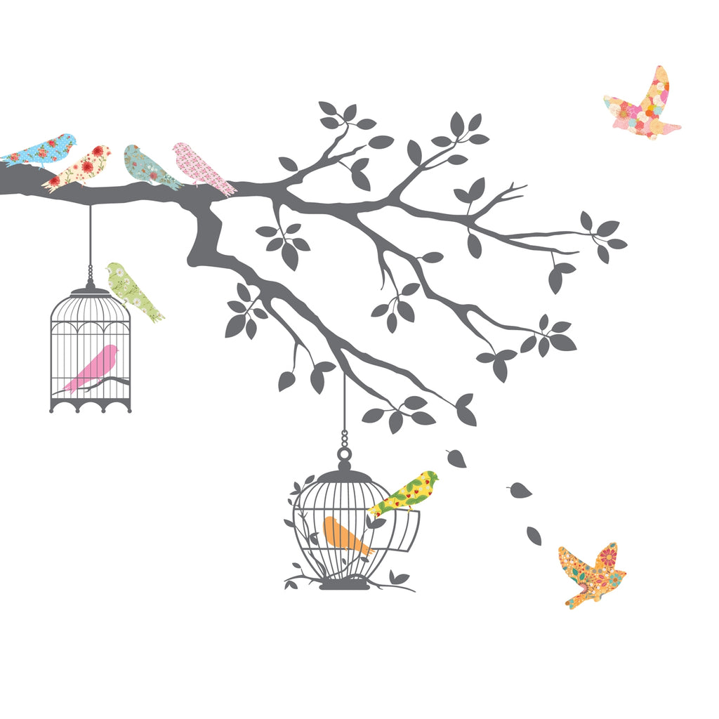 Birds on Tree Branch with Bird Cages Wall Stickers (Grey)