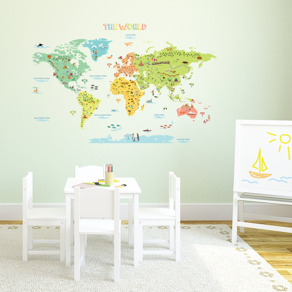 Colourful World Map Nursery Kids Wall Stickers