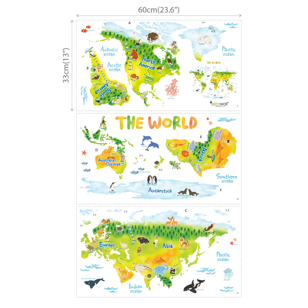 Geological World Map with Animals Wall Stickers (Large)