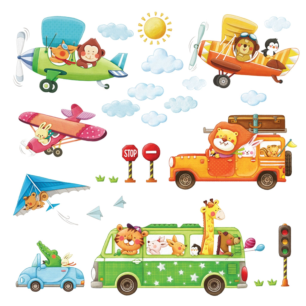 Animal Transports and Biplanes Wall Stickers