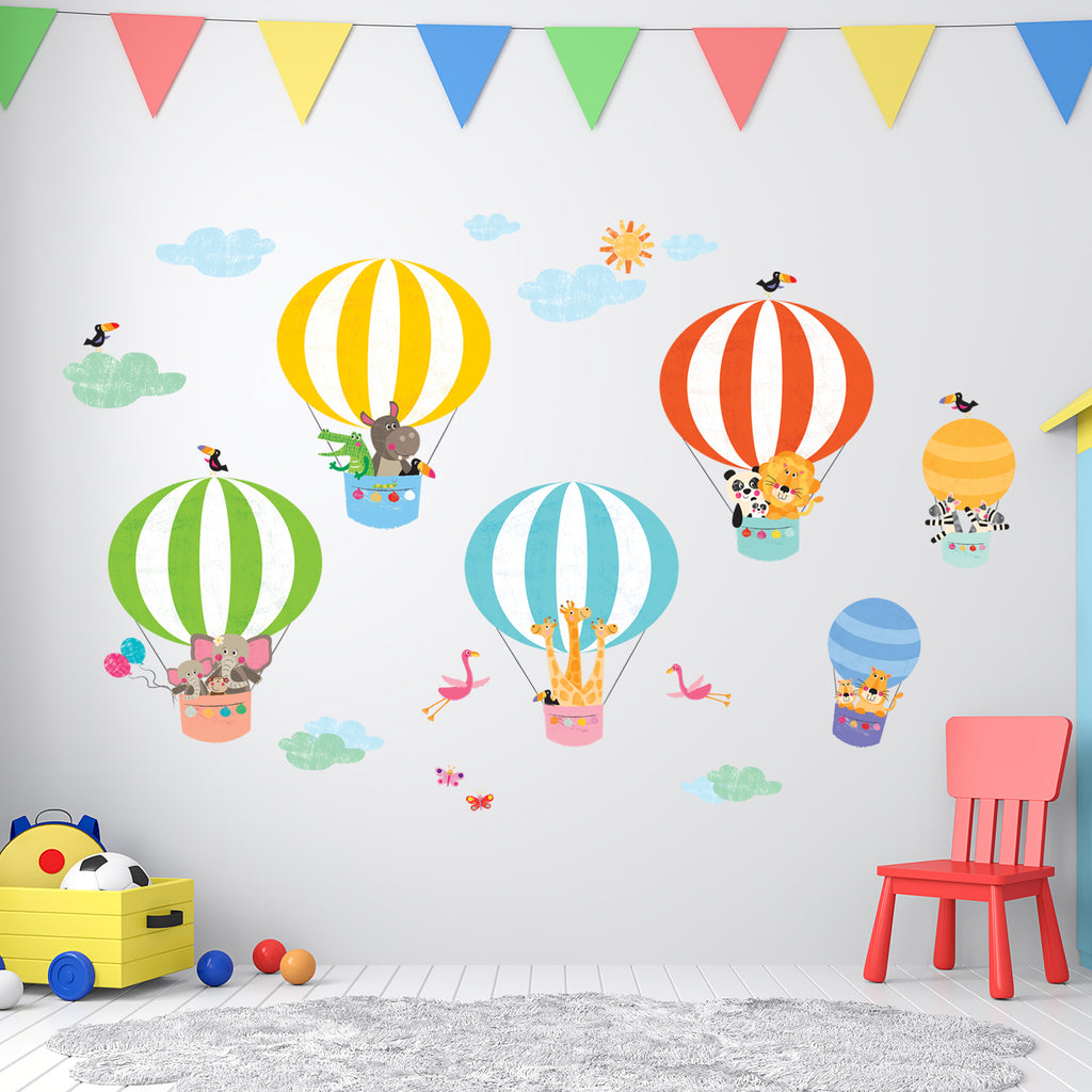 Animals in Hot Air Balloons Wall Stickers