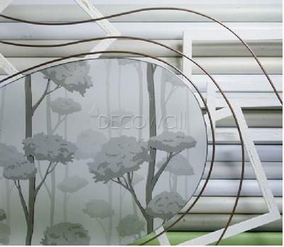 31839 Oriental Black Trees Decorative Frosted Window Film - DECOWALL