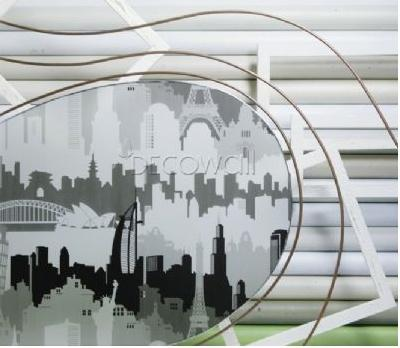31841 Famous World Landmarks Decorative Frosted Window Film_Black 70%