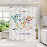 Animal World Map, Kids Shower Curtain set