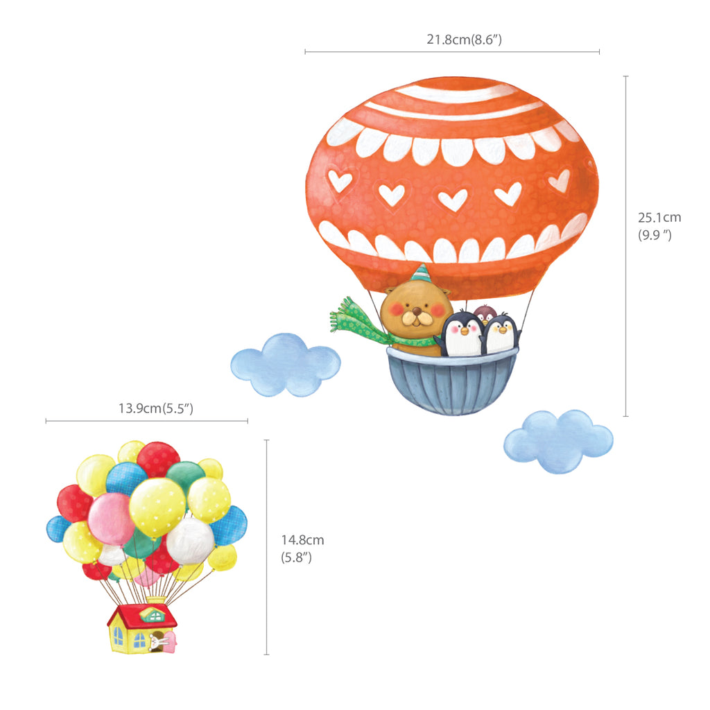 Animal Hot Air Balloons Wall Stickers