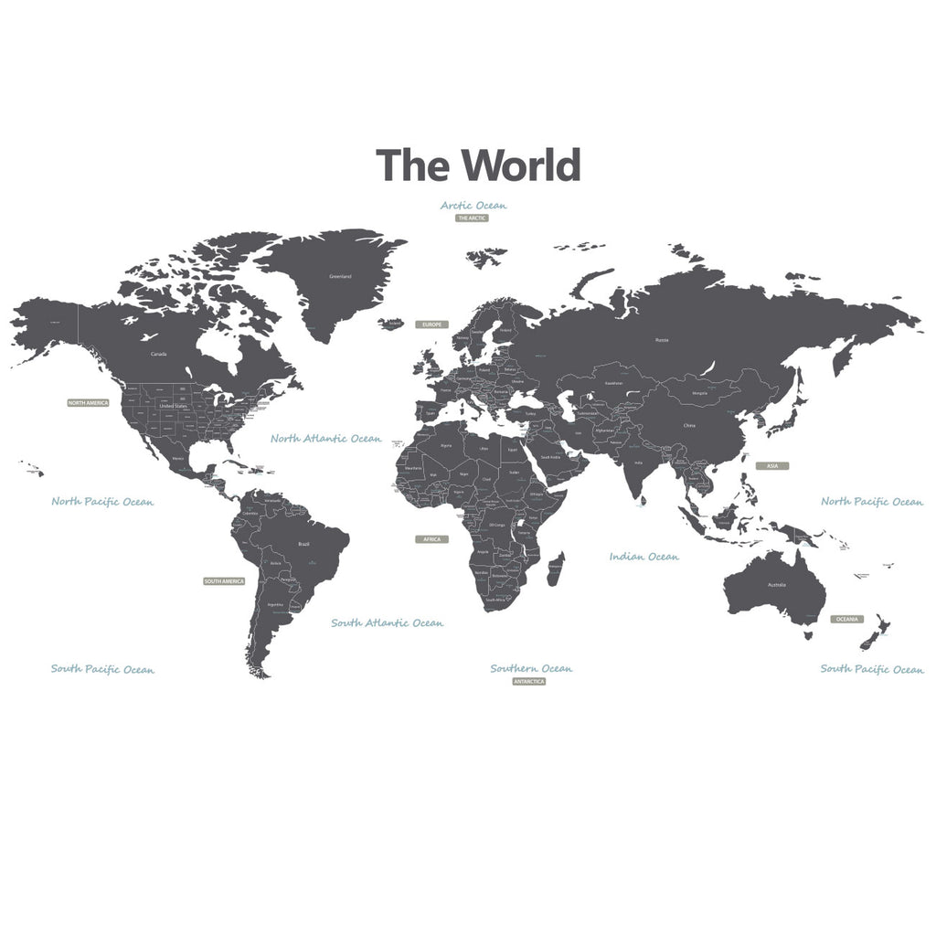 Modern Grey World Map Wall Stickers (Xlarge)