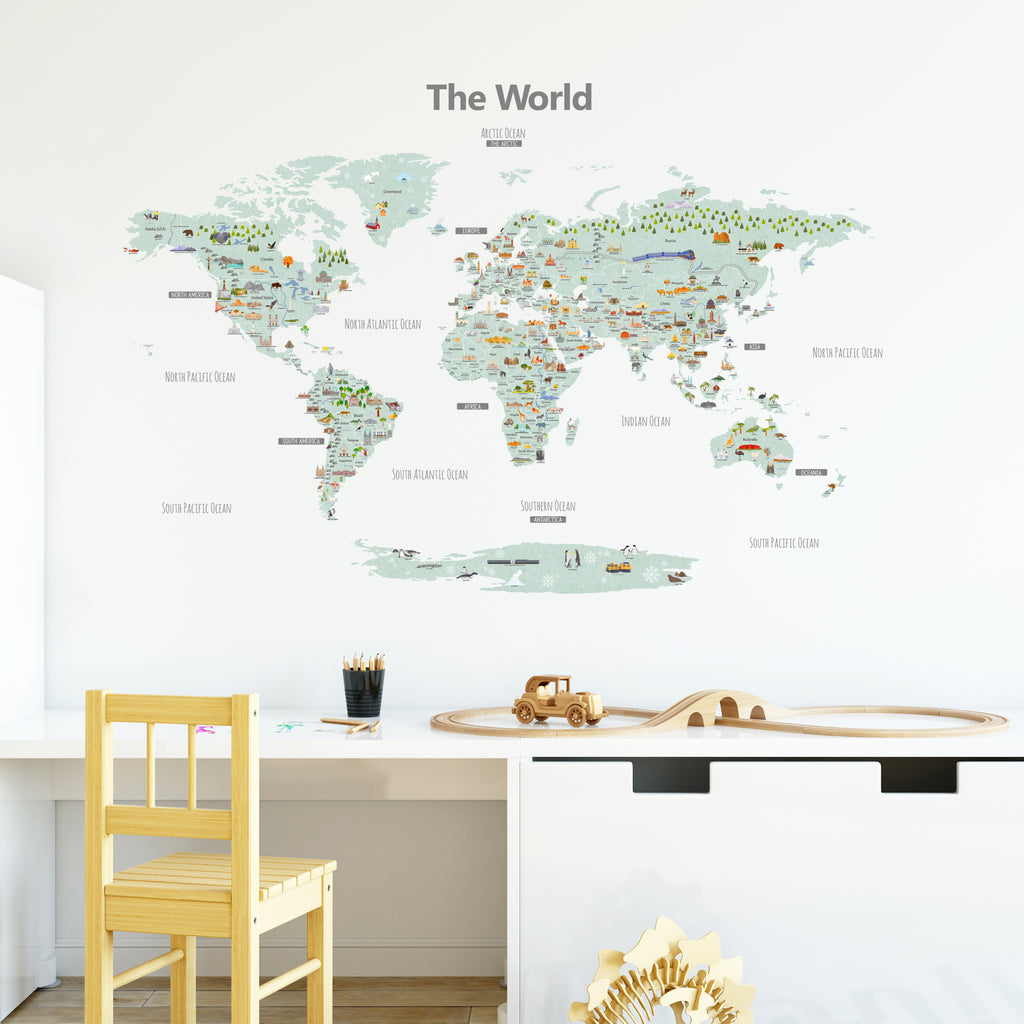 Landmark World Map Wall Stickers